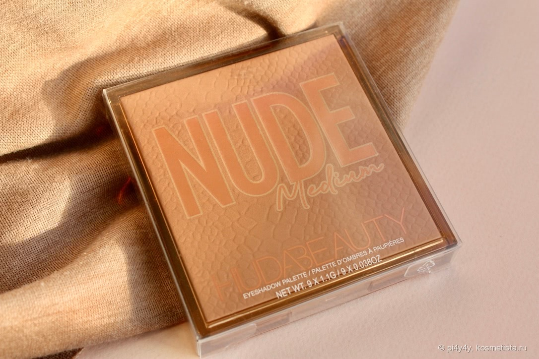 Палетка теней Huda Beauty Medium Nude Obsessions Eyeshadow Palette в чехле (солнечно)